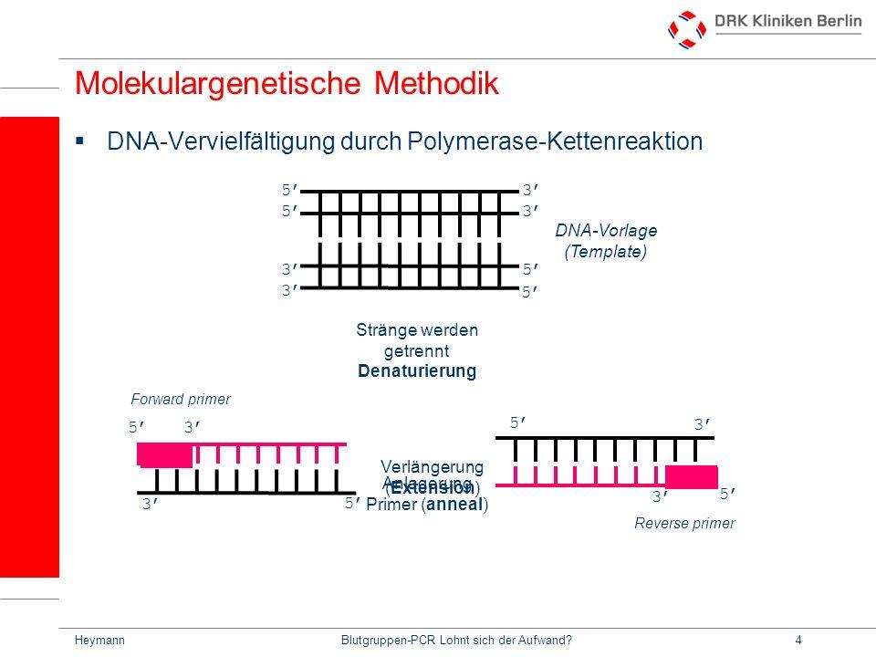 HeymannBlutgruppen-PCR Lohnt sich der Aufwand?25 SerologiePCR-SSPSequenzierung Aufwand + ++ +++ Zeit + (ca.