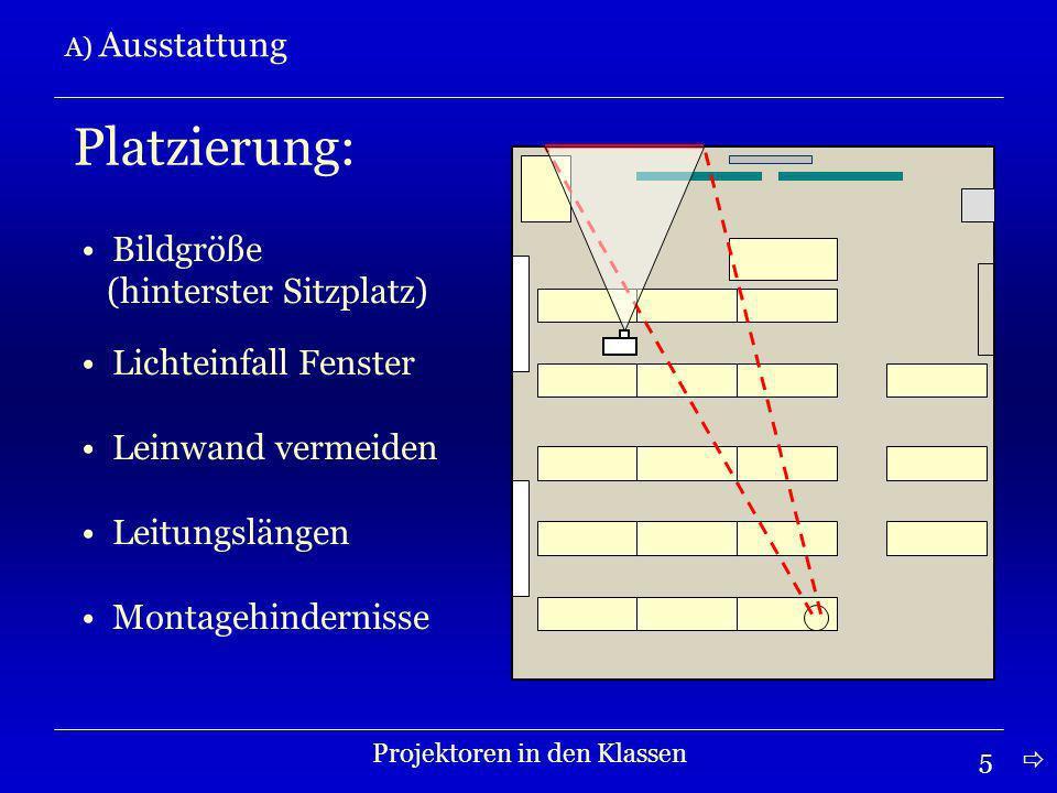 16 C) Bedienung Projektoren in den Klassen Nutzungsordnung Der Projektor, die Fernbedienung und die Leinwand dürfen ausnahmslos nur von den Lehrpersonen bedient werden.