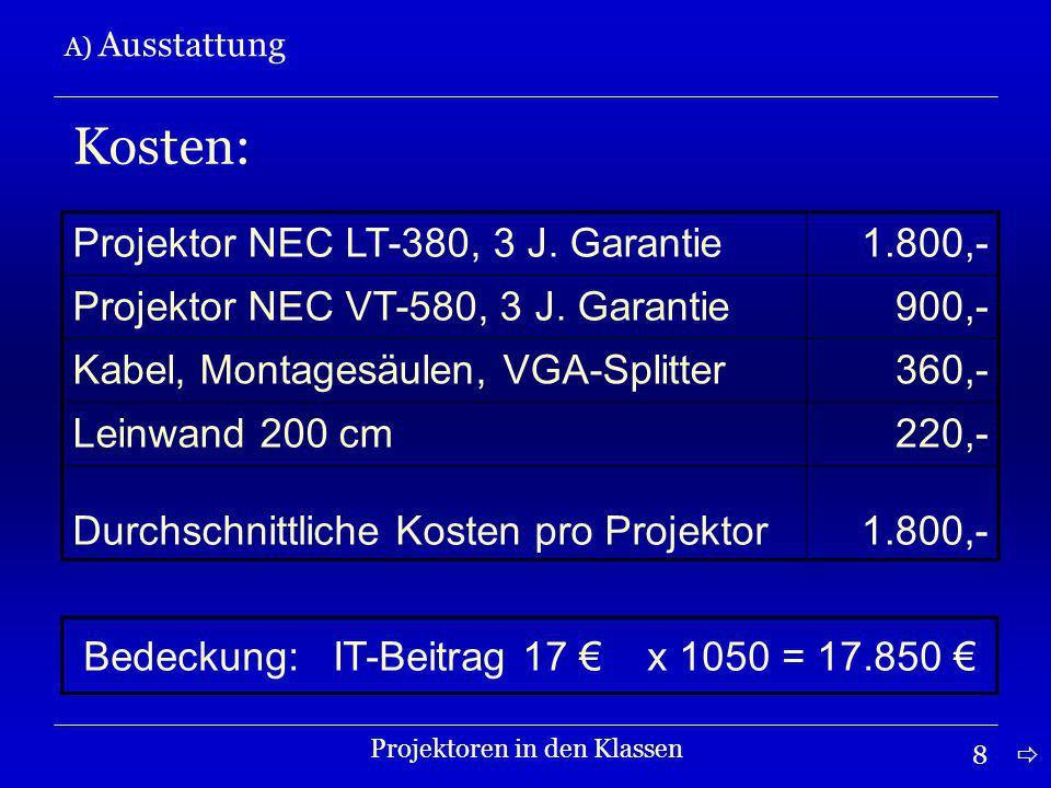 8 A) Ausstattung Projektoren in den Klassen Kosten: Projektor NEC LT-380, 3 J.