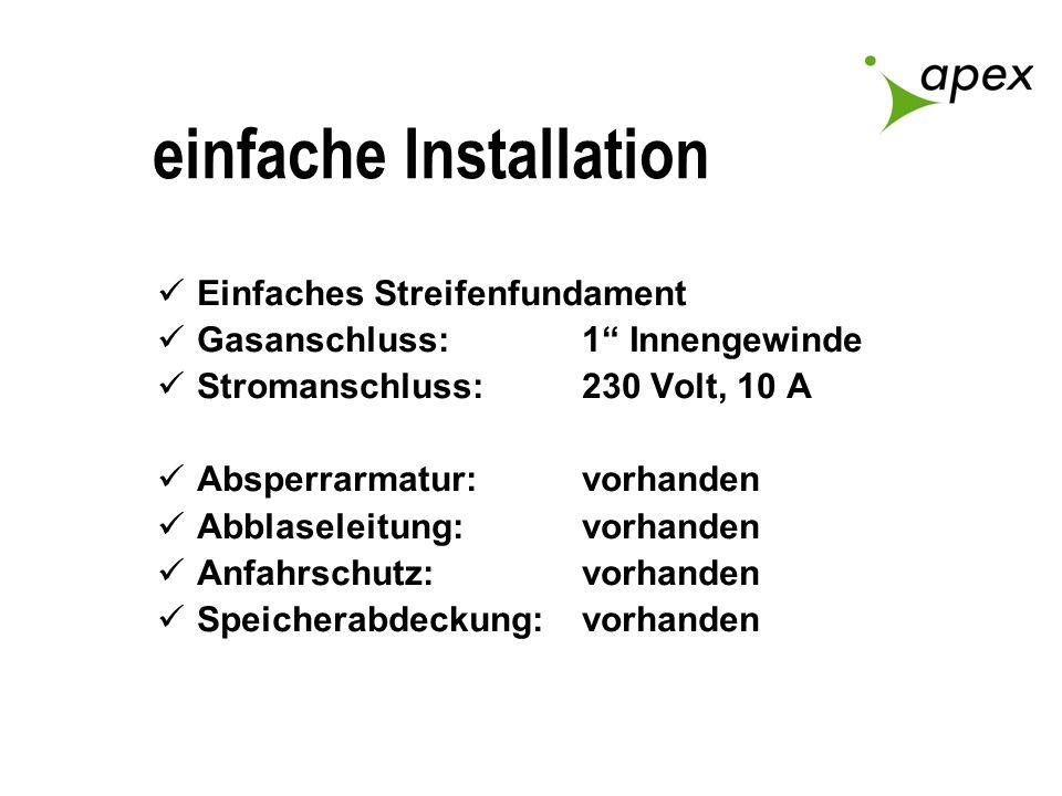 einfache Installation Einfaches Streifenfundament Gasanschluss: 1 Innengewinde Stromanschluss:230 Volt, 10 A Absperrarmatur:vorhanden Abblaseleitung:v