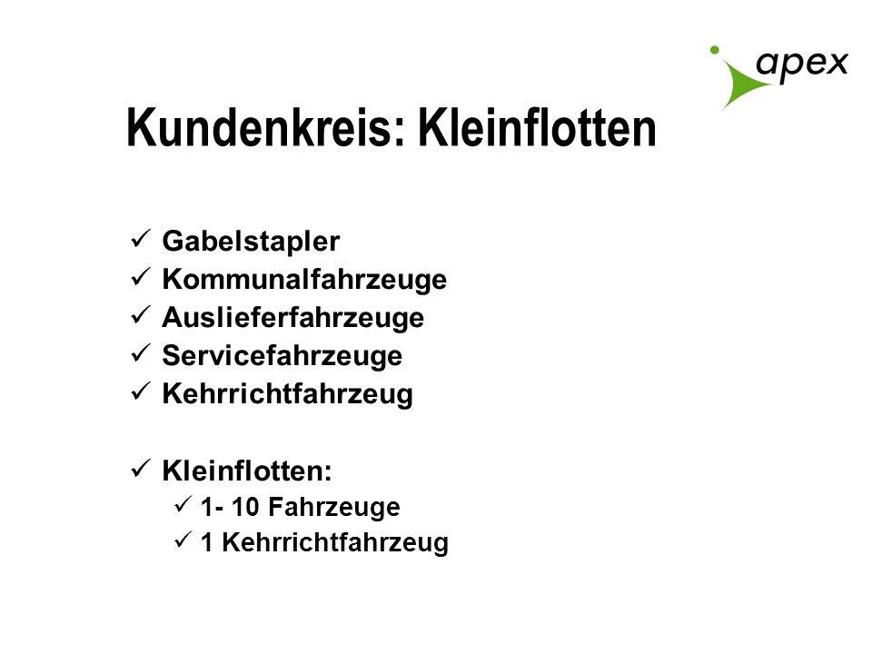 Kundenkreis: Kleinflotten Gabelstapler Kommunalfahrzeuge Auslieferfahrzeuge Servicefahrzeuge Kehrrichtfahrzeug Kleinflotten: 1- 10 Fahrzeuge 1 Kehrric