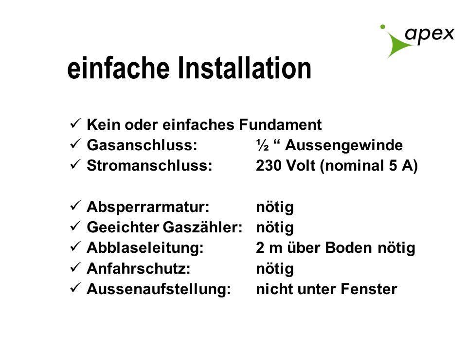 einfache Installation Kein oder einfaches Fundament Gasanschluss: ½ Aussengewinde Stromanschluss:230 Volt (nominal 5 A) Absperrarmatur:nötig Geeichter
