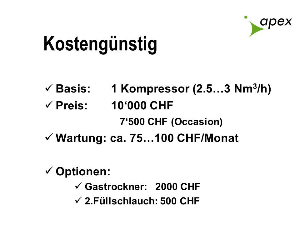 Kostengünstig Basis: 1 Kompressor (2.5…3 Nm 3 /h) Preis: 10000 CHF 7500 CHF (Occasion) Wartung: ca. 75…100 CHF/Monat Optionen: Gastrockner: 2000 CHF 2