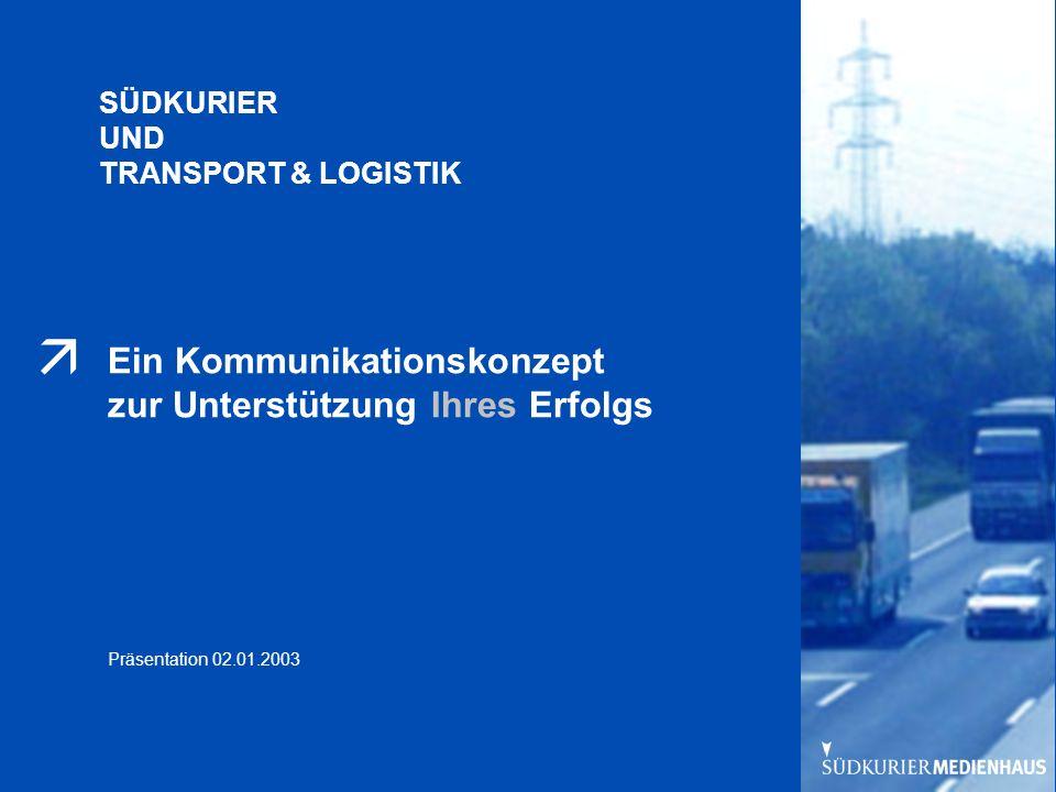 Präsentation 29.07.2002 Titel ändern Ein Kommunikationskonzept zur Unterstützung Ihres Erfolgs Präsentation 02.01.2003 SÜDKURIER UND TRANSPORT & LOGISTIK