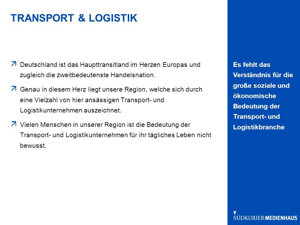 Es fehlt das Verständnis für die große soziale und ökonomische Bedeutung der Transport- und Logistikbranche TRANSPORT & LOGISTIK ä Deutschland ist das Haupttransitland im Herzen Europas und zugleich die zweitbedeutenste Handelsnation.