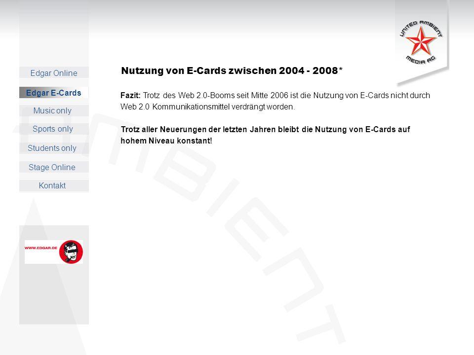 Edgar Online Music only Sports only Students only Kontakt Edgar E-Cards Stage Online Fazit: Trotz des Web 2.0-Booms seit Mitte 2006 ist die Nutzung von E-Cards nicht durch Web 2.0 Kommunikationsmittel verdrängt worden.