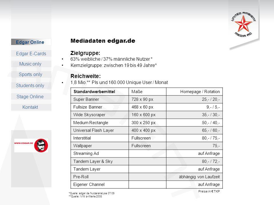 Music only Sports only Students only Kontakt Edgar E-Cards Stage Online Mediadaten edgar.de Zielgruppe: 63% weibliche / 37% männliche Nutzer * Kernzie