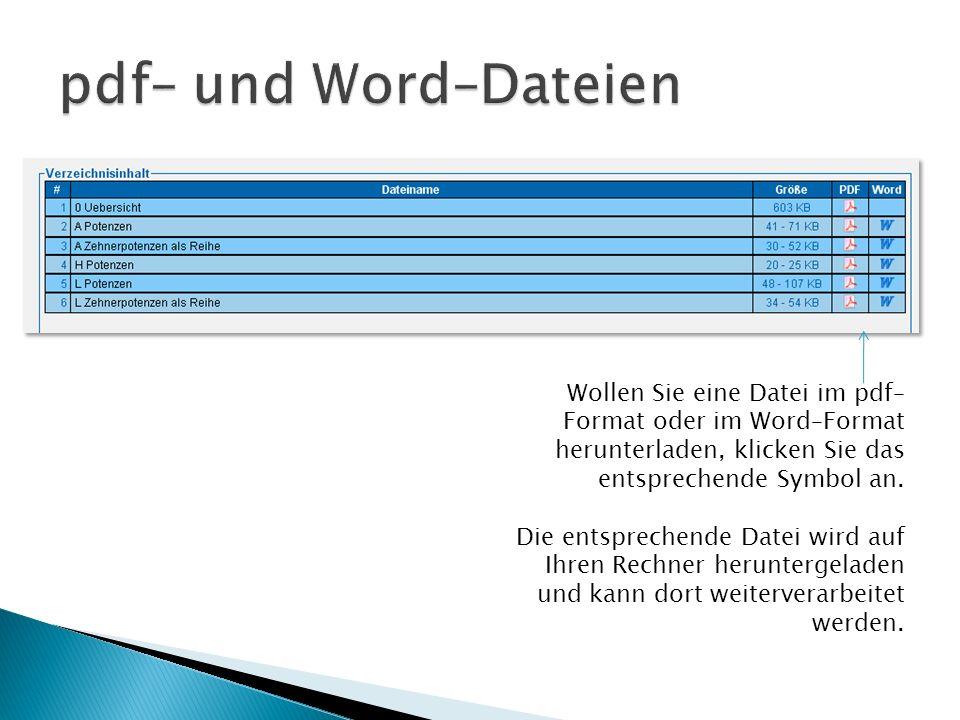 Wollen Sie eine Datei im pdf– Format oder im Word–Format herunterladen, klicken Sie das entsprechende Symbol an. Die entsprechende Datei wird auf Ihre