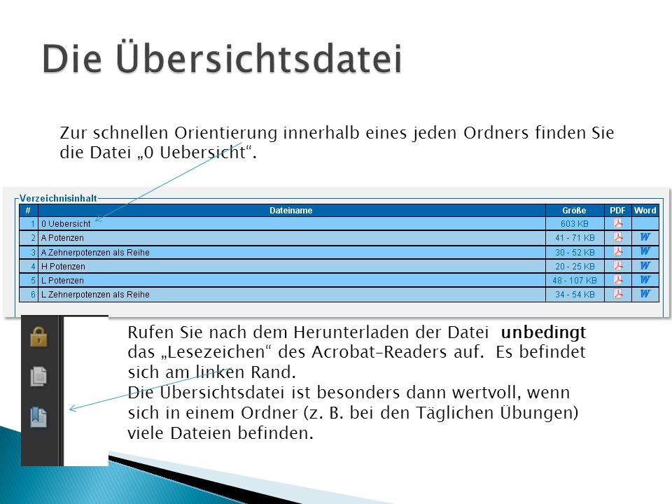 Zur schnellen Orientierung innerhalb eines jeden Ordners finden Sie die Datei 0 Uebersicht. Rufen Sie nach dem Herunterladen der Datei unbedingt das L