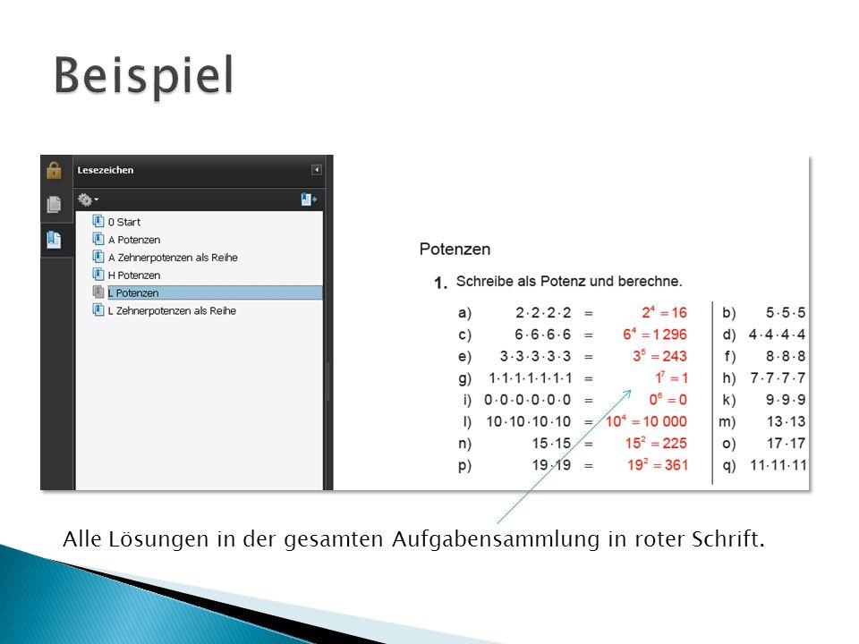 Alle Lösungen in der gesamten Aufgabensammlung in roter Schrift.