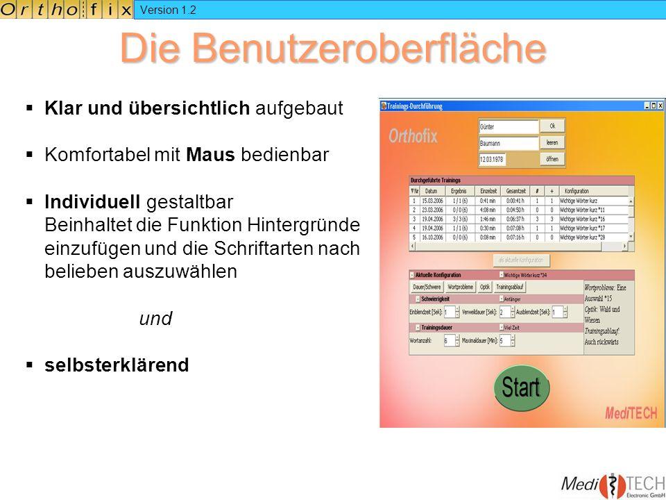 Version 1.2 Die Benutzeroberfläche Klar und übersichtlich aufgebaut Komfortabel mit Maus bedienbar Individuell gestaltbar Beinhaltet die Funktion Hint