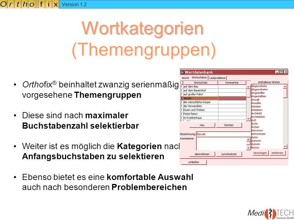 Version 1.2 Wortkategorien Wortkategorien (Themengruppen) Orthofix ® beinhaltet zwanzig serienmäßig vorgesehene Themengruppen Diese sind nach maximale