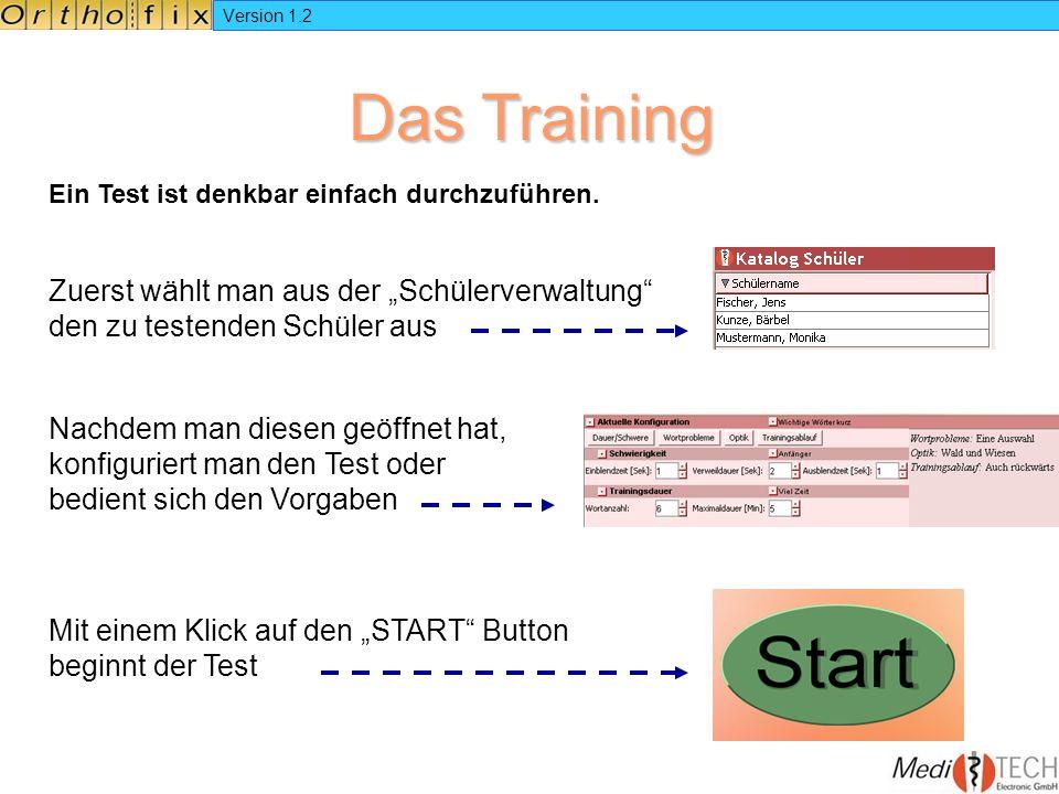 Version 1.2 Das Training Ein Test ist denkbar einfach durchzuführen. Zuerst wählt man aus der Schülerverwaltung den zu testenden Schüler aus Nachdem m