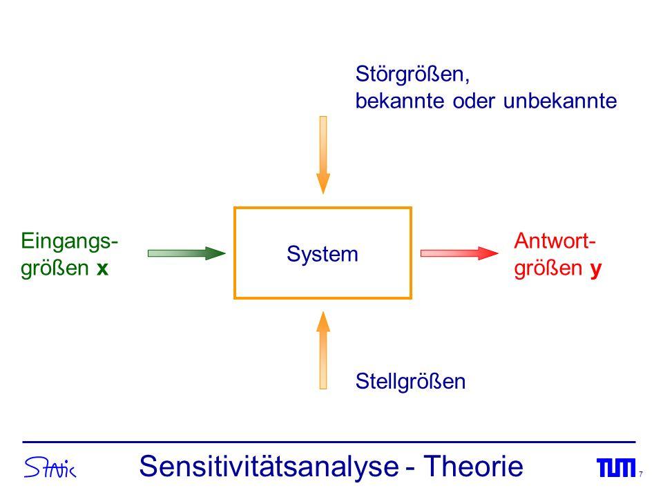 7 System Eingangs- größen x Antwort- größen y Störgrößen, bekannte oder unbekannte Stellgrößen Sensitivitätsanalyse - Theorie