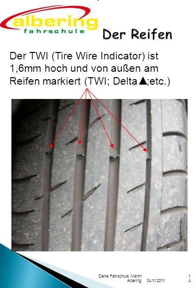 04.11.2011 Deine Fahrschule Martin Albering14 Der TWI (Tire Wire Indicator) ist 1,6mm hoch und von außen am Reifen markiert (TWI; Delta ;etc.)