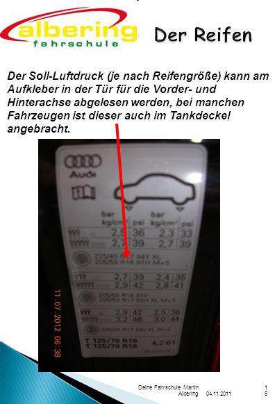 04.11.2011 Deine Fahrschule Martin Albering15 Der Soll-Luftdruck (je nach Reifengröße) kann am Aufkleber in der Tür für die Vorder- und Hinterachse ab
