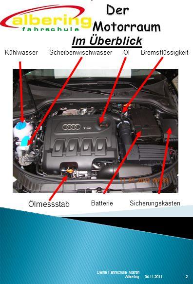 04.11.2011 Deine Fahrschule Martin Albering2 Kühlwasser Scheibenwischwasser Öl Bremsflüssigkeit Im Überblick Batterie Sicherungskasten Ölmessstab
