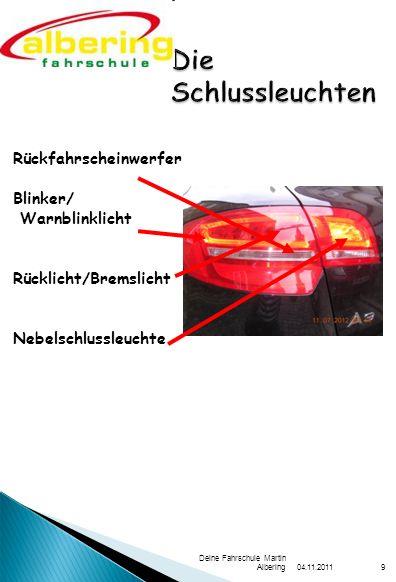 04.11.2011 Deine Fahrschule Martin Albering9 Rückfahrscheinwerfer Blinker/ Warnblinklicht Rücklicht/Bremslicht Nebelschlussleuchte