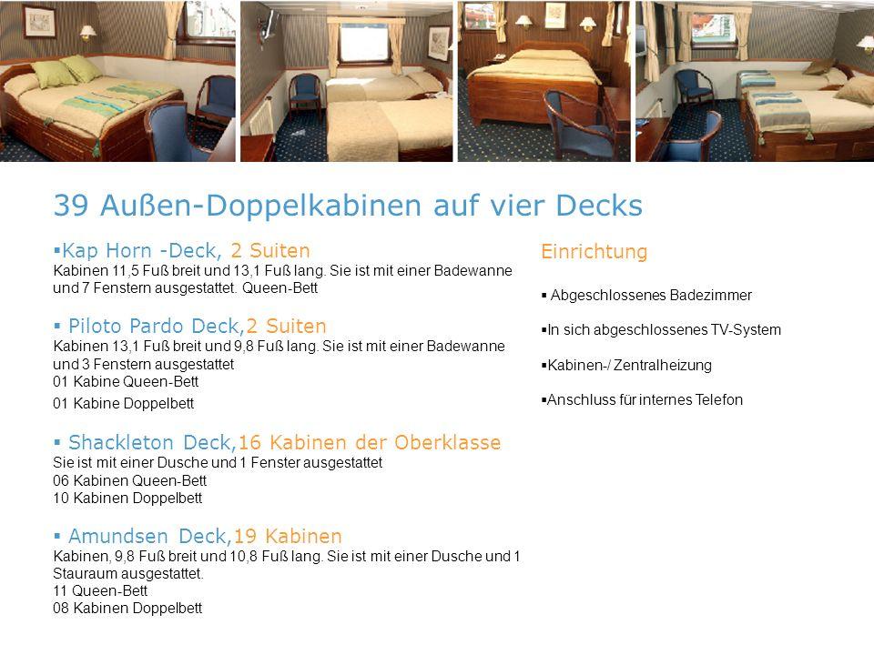Kap Horn -Deck, 2 Suiten Kabinen 11,5 Fuß breit und 13,1 Fuß lang.