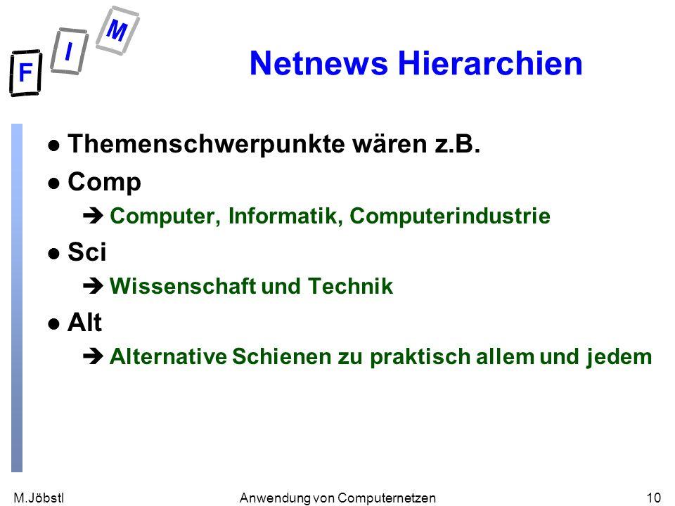M.Jöbstl10Anwendung von Computernetzen Netnews Hierarchien l Themenschwerpunkte wären z.B. l Comp èComputer, Informatik, Computerindustrie l Sci èWiss