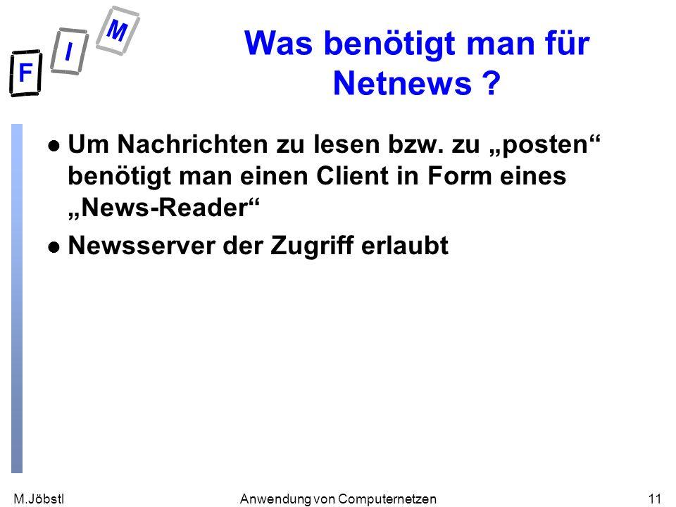 M.Jöbstl11Anwendung von Computernetzen Was benötigt man für Netnews ? l Um Nachrichten zu lesen bzw. zu posten benötigt man einen Client in Form eines