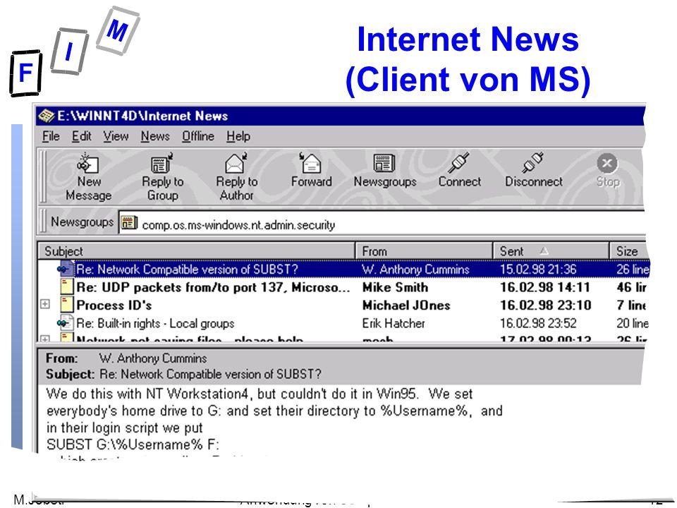 M.Jöbstl12Anwendung von Computernetzen Internet News (Client von MS)