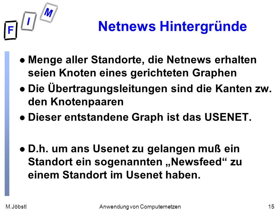 M.Jöbstl15Anwendung von Computernetzen Netnews Hintergründe l Menge aller Standorte, die Netnews erhalten seien Knoten eines gerichteten Graphen l Die Übertragungsleitungen sind die Kanten zw.