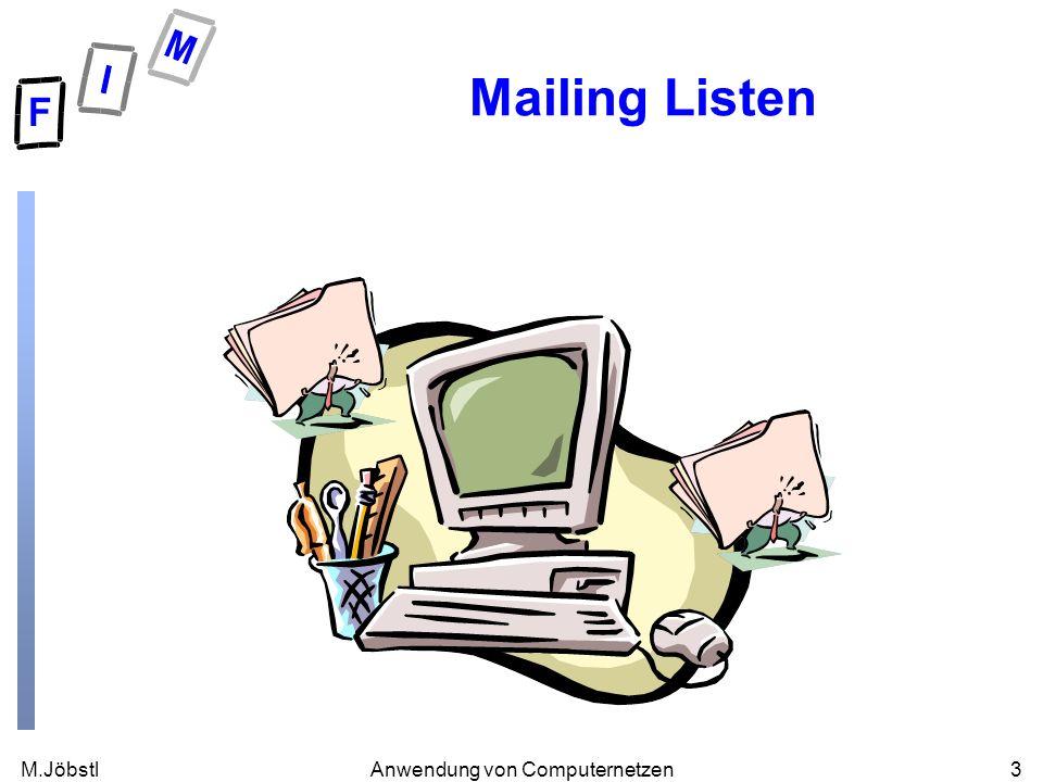 M.Jöbstl3Anwendung von Computernetzen Mailing Listen