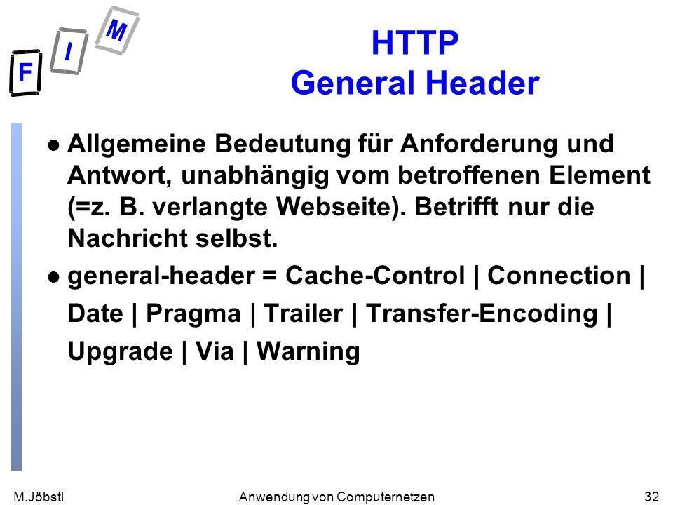 M.Jöbstl32Anwendung von Computernetzen HTTP General Header l Allgemeine Bedeutung für Anforderung und Antwort, unabhängig vom betroffenen Element (=z.