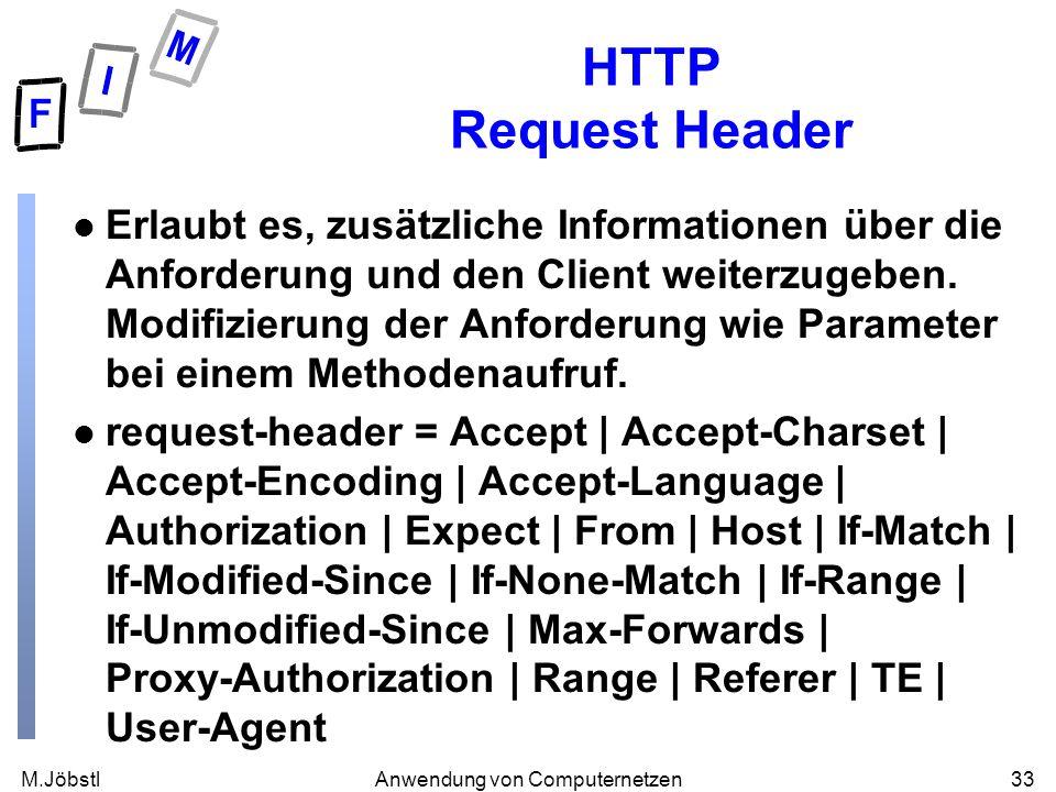 M.Jöbstl33Anwendung von Computernetzen HTTP Request Header l Erlaubt es, zusätzliche Informationen über die Anforderung und den Client weiterzugeben.