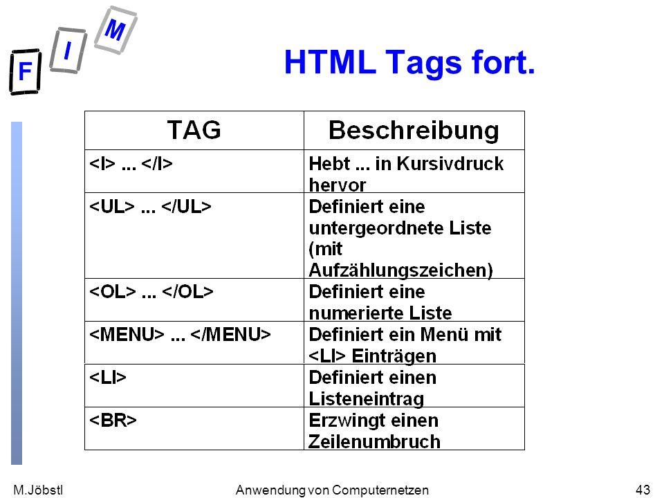M.Jöbstl43Anwendung von Computernetzen HTML Tags fort.
