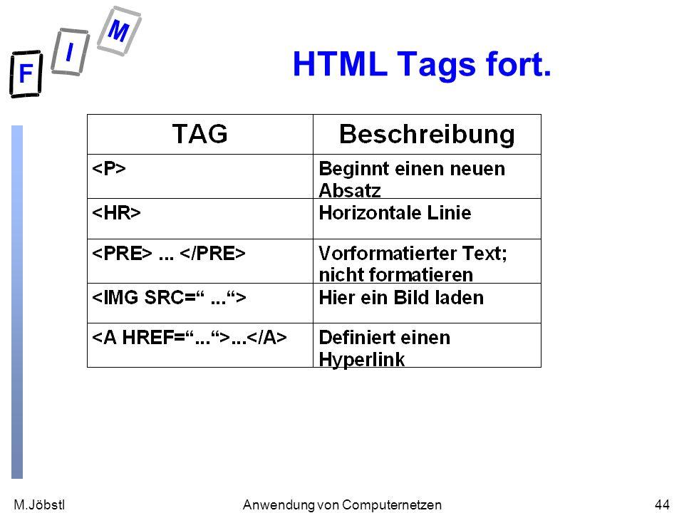 M.Jöbstl44Anwendung von Computernetzen HTML Tags fort.
