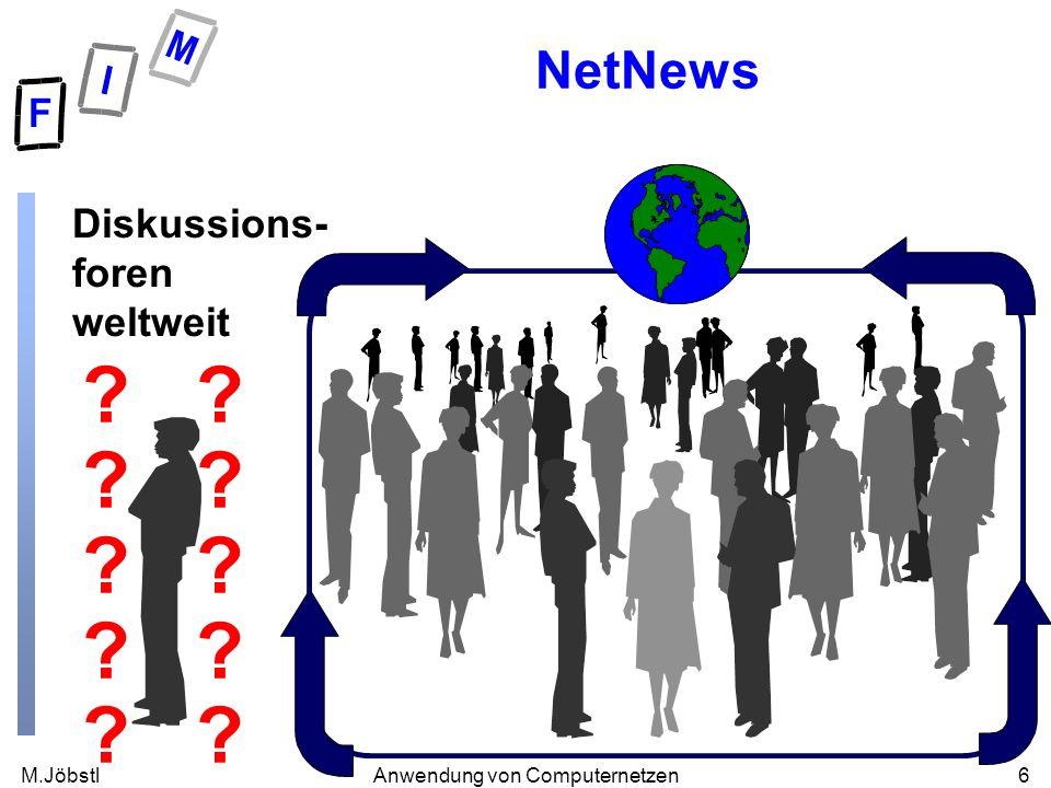 M.Jöbstl6Anwendung von Computernetzen NetNews Diskussions- foren weltweit