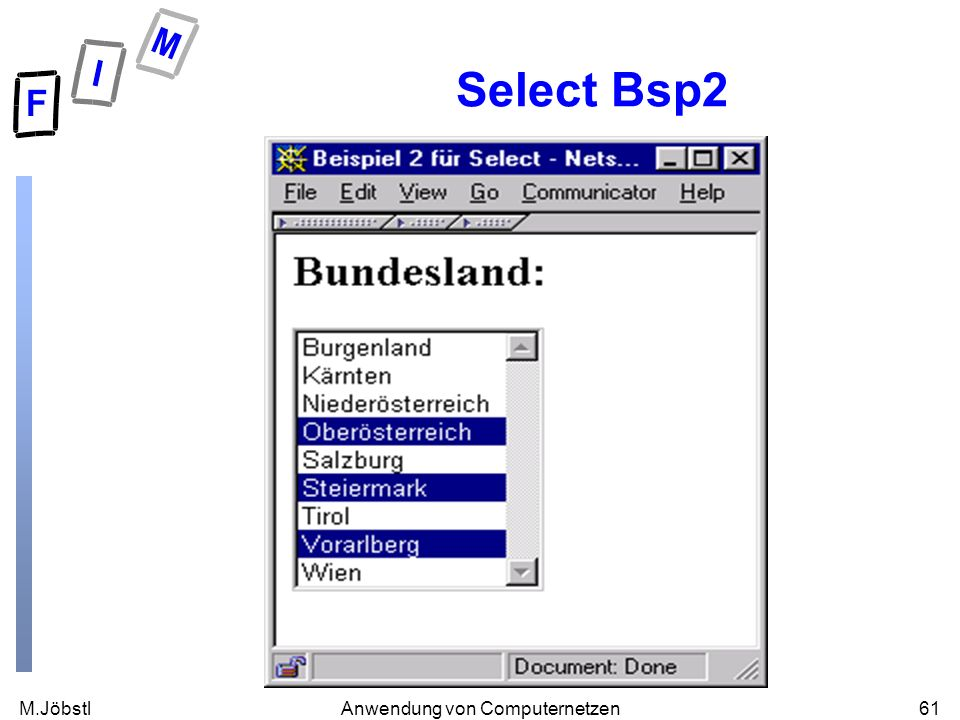 M.Jöbstl61Anwendung von Computernetzen Select Bsp2