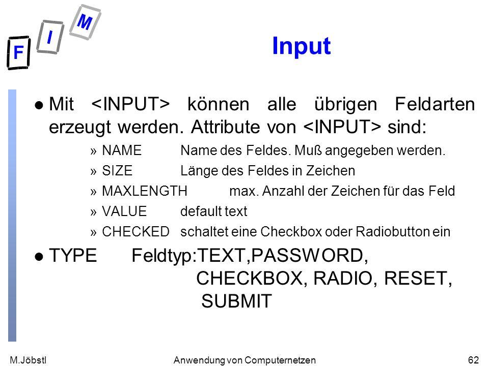 M.Jöbstl62Anwendung von Computernetzen Input l Mit können alle übrigen Feldarten erzeugt werden. Attribute von sind: »NAMEName des Feldes. Muß angegeb