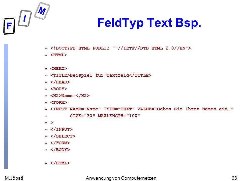 M.Jöbstl63Anwendung von Computernetzen FeldTyp Text Bsp. » » Beispiel für Textfeld » » Name: » »<INPUT NAME=