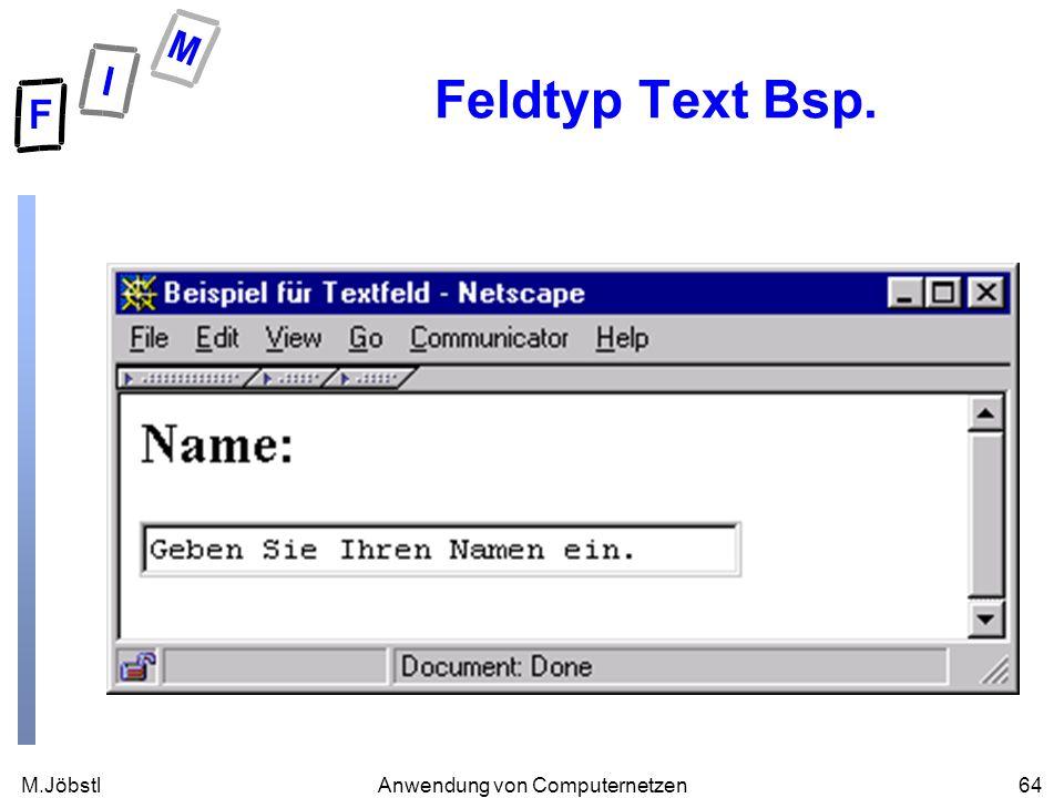 M.Jöbstl64Anwendung von Computernetzen Feldtyp Text Bsp.