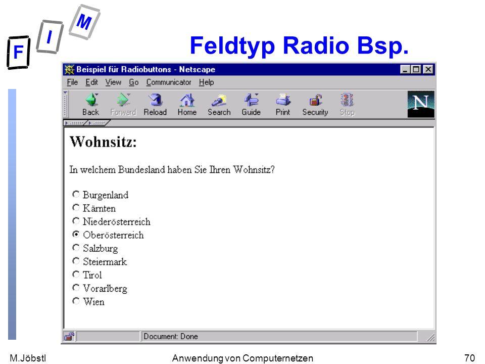 M.Jöbstl70Anwendung von Computernetzen Feldtyp Radio Bsp.