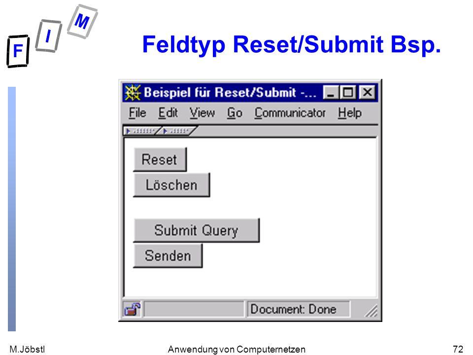 M.Jöbstl72Anwendung von Computernetzen Feldtyp Reset/Submit Bsp.