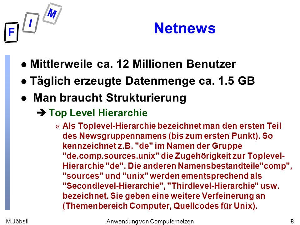 M.Jöbstl8Anwendung von Computernetzen Netnews l Mittlerweile ca. 12 Millionen Benutzer l Täglich erzeugte Datenmenge ca. 1.5 GB l Man braucht Struktur