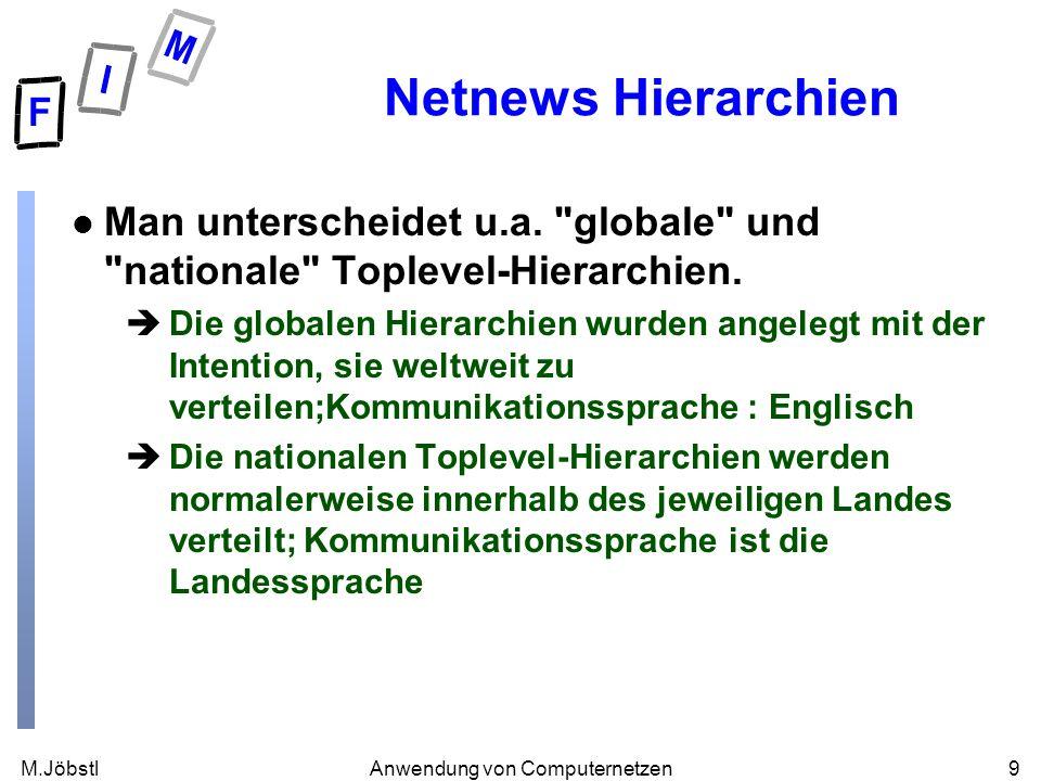 M.Jöbstl9Anwendung von Computernetzen Netnews Hierarchien l Man unterscheidet u.a.