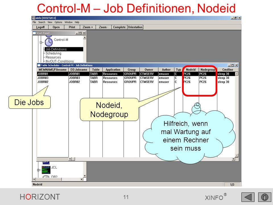 HORIZONT 12 XINFO ® Control-M – Job Definitionen Viele weitere Suchmöglichkeiten, z.B.