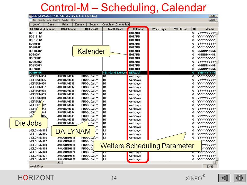 HORIZONT 15 XINFO ® Control-M – Scheduling, Group Funktion Wie oft wird jeder Kalender verwendet?...liefert auf Knopfdruck die Group-Funktion