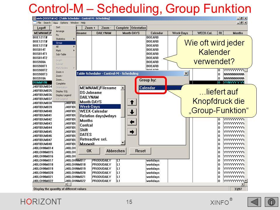 HORIZONT 16 XINFO ® Control-M – Scheduling, Group Funktion zahlenmäßige Verteilung pro Kalender