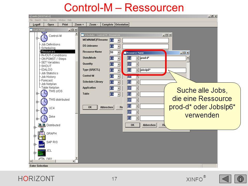 HORIZONT 18 XINFO ® Control-M – Ressourcen Die Jobs Die Art der Verwendung Die Ressourcen
