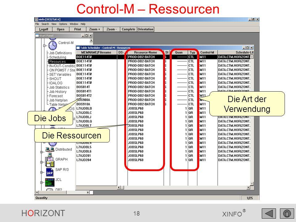 HORIZONT 19 XINFO ® Control-M – DO (Step) Action Welche Jobs werden mit FORCEJOB gestartet?