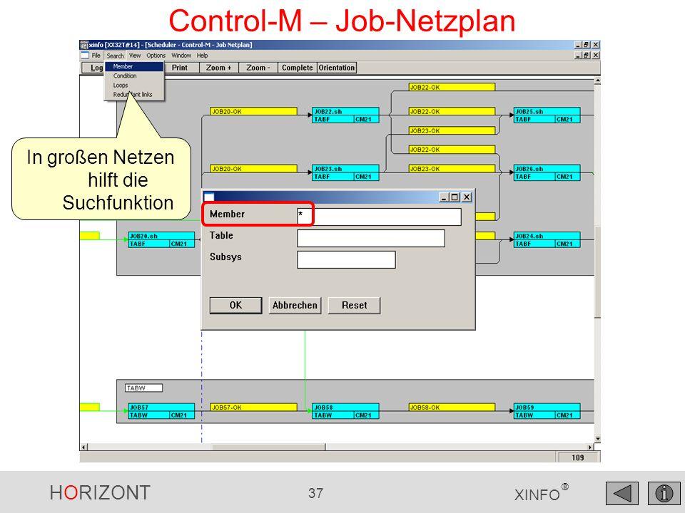HORIZONT 38 XINFO ® Control-M – Job-Netzplan Sortierte Liste der gefundenen Jobs klick markiert und positioniert den Job sichtbar im Fenster