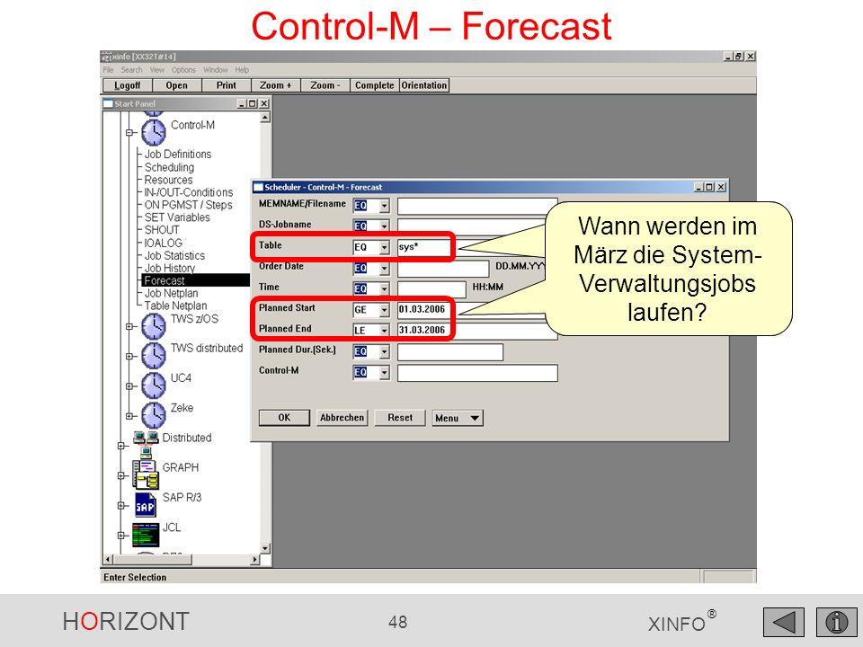 HORIZONT 49 XINFO ® Control-M – Forecast Die Jobs Voraussichtliches Start / Ende Voraussichtliche Dauer