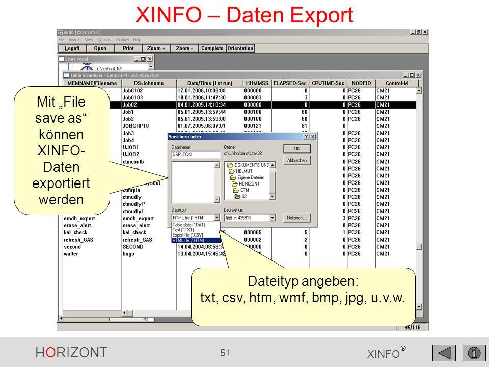 HORIZONT 52 XINFO ® XINFO – Daten Export nach Excel