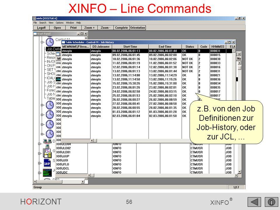 HORIZONT 57 XINFO ® XINFO – Line Commands z.B. auch Browse JCL